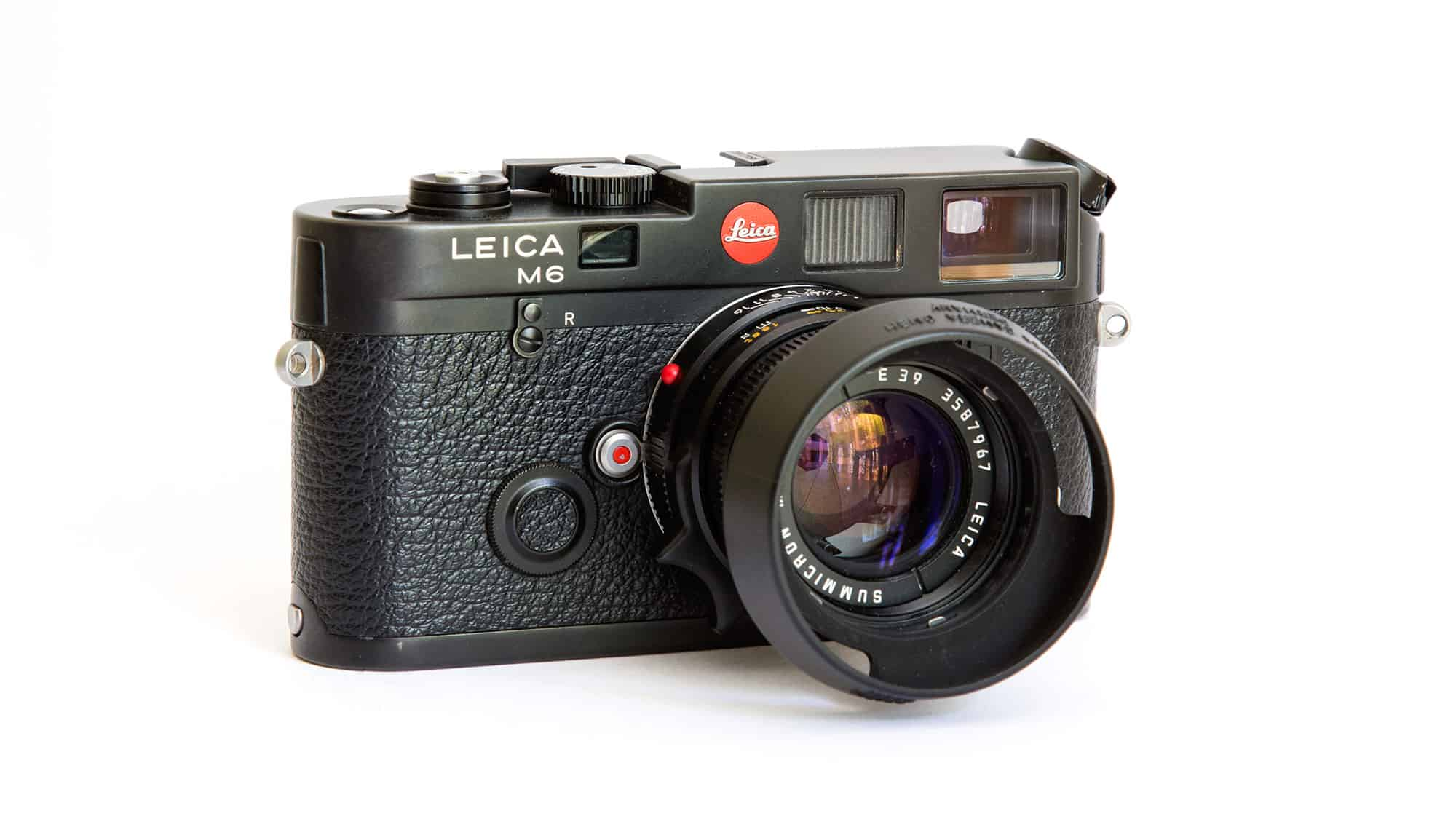 Leica M6 black 35mm camera body with a Leica Summicron-M 50mm f2 lens.