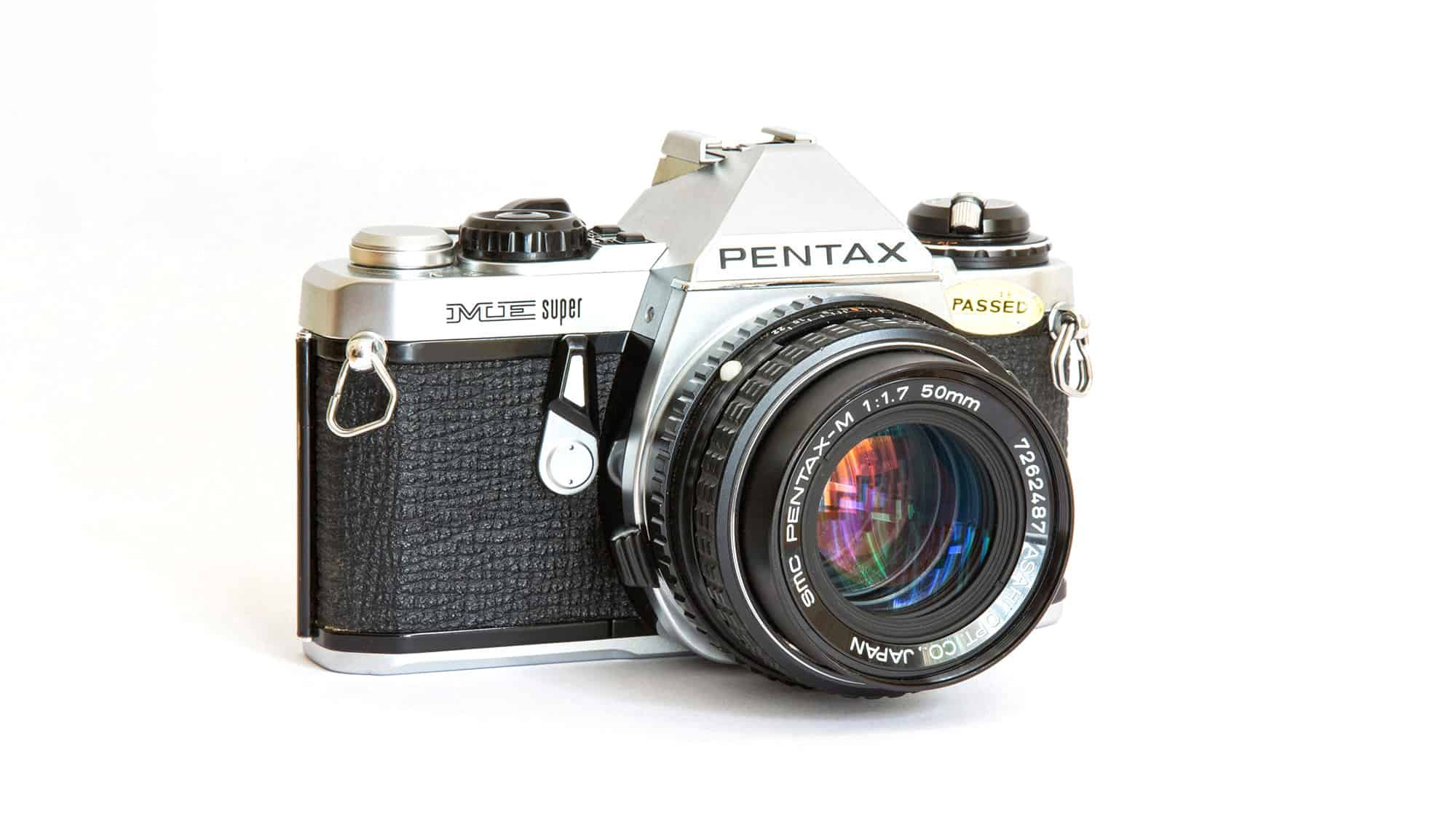 Pentax ME Super SLR 35mm camera body with a Pentax-M 50mm f1.7 lens.