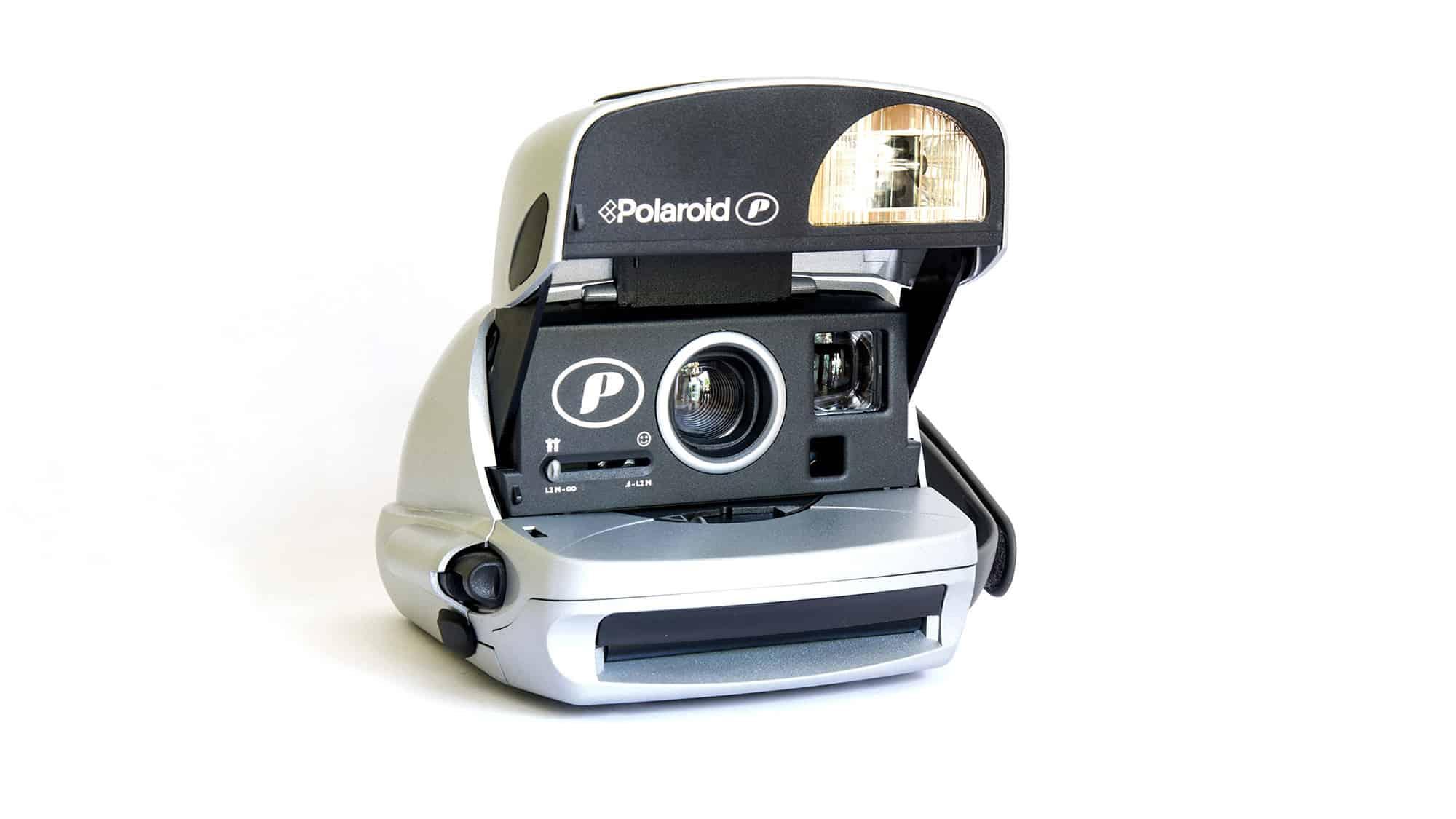 Polaroid 600 P instant camera.